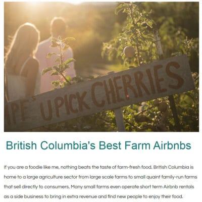 BC Farm Airbnbs